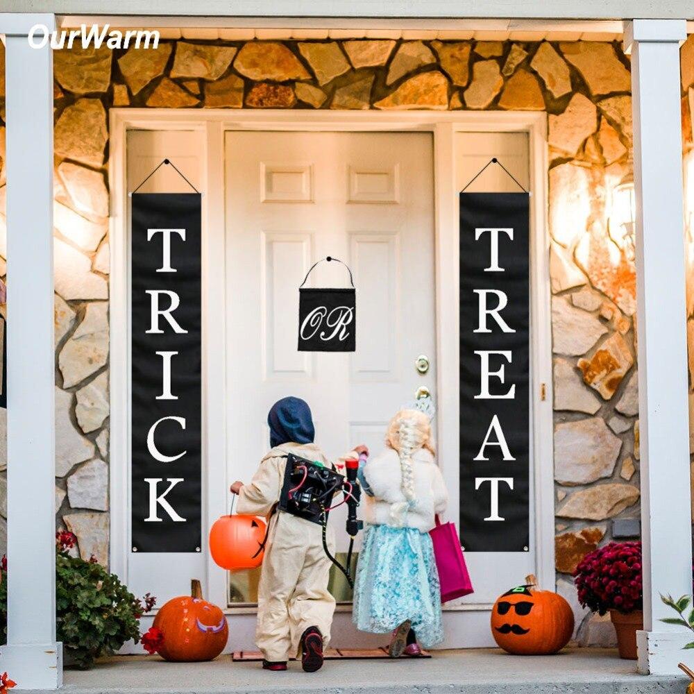 OurWarm Decoração de Halloween Trick or Treat Halloween Bandeira Sinal Da Porta de Casa Escritório Pronto Para Pendurar Ao Ar Livre Fontes Do Partido Festivo