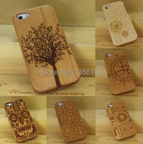 imágenes para Caso para el iphone 5s 5 iphone sí 100% verde natural real de madera de Madera de Talla De Bambú Caja Trasera Dura Cubierta de la Cáscara Del Teléfono de La Piel bolsa