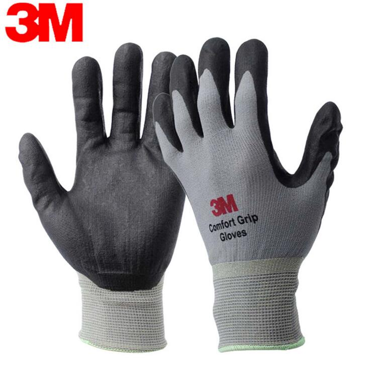 3M protective gloves non-slip wear resistant nitrile gloves gray oil resistant dirty gloves high quality cut proof labor gloves breathable protective gloves 1 pair wear resistant anti slip nitrile coating knitted gloves
