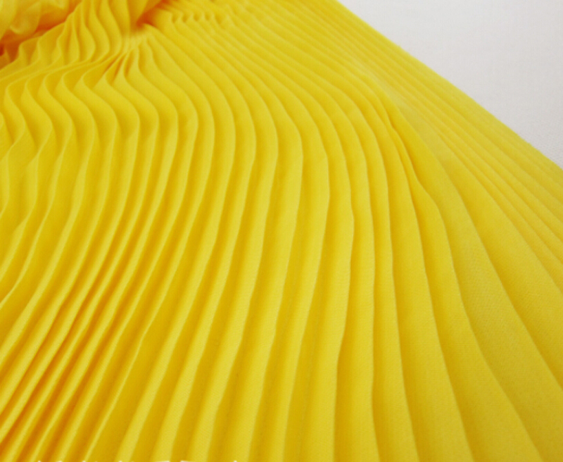 3 Meters Width 150CM 59 120D Yellow Ruffled Pleated Tulle Chiffon Lace Fabric Solid Dress