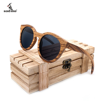 BOBO BIRD Polarized Round Sun Glasses Women Zebra Wood Sunglasses Men With Wooden Box Oculos De Sol Feminino C AG009a Drop Ship