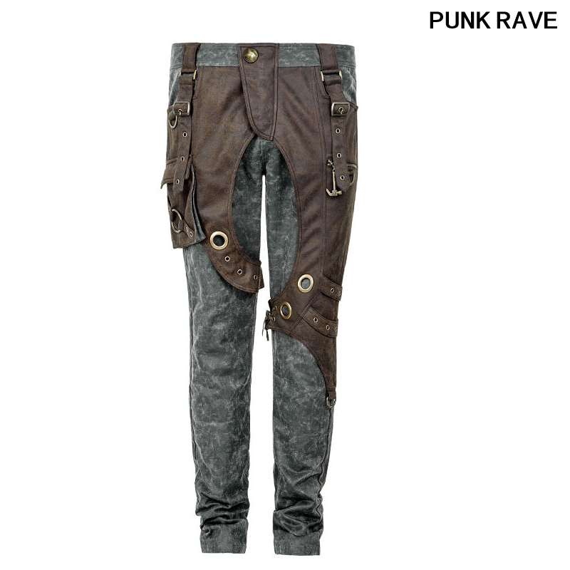 Gothic fashion Double Color Joining together Pants Steampunk Thick Men military Style Rock Pocket Cool Trousers Punk Rave K 241