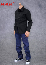 цена на 1:6 male man clothes action figure accessoies black shirt & jeans suit soldier clothes set fit for 12 inch male boy figure doll