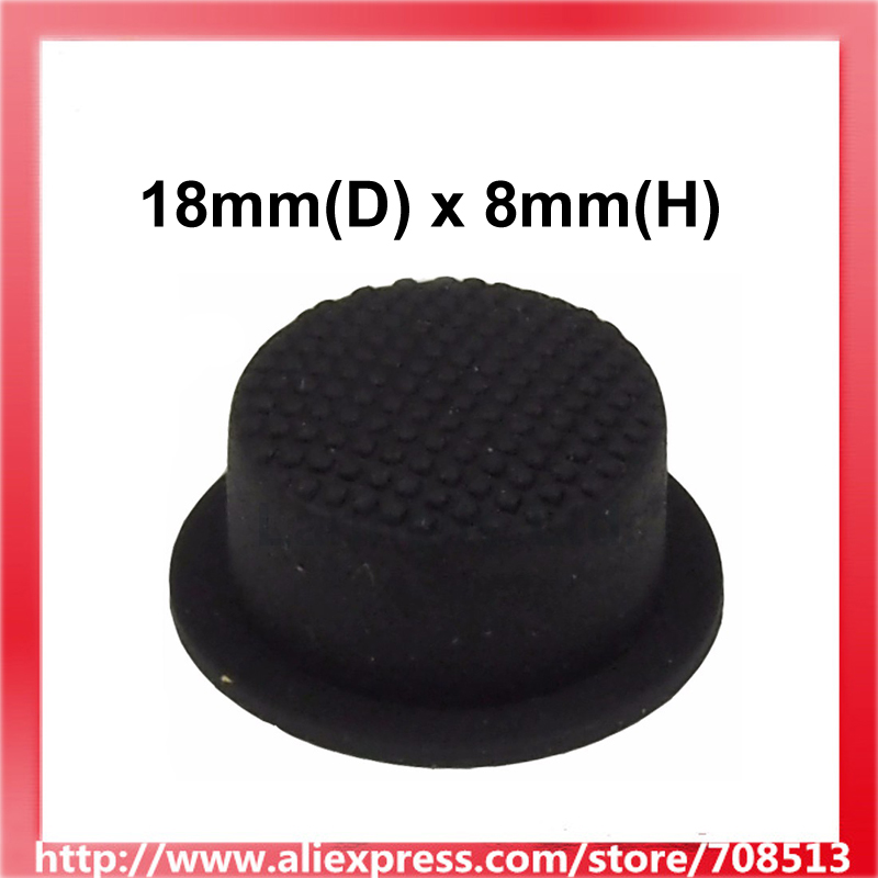18mm(D) X 8mm(H) Silicone Tailcaps For LED Flashlight - Black (10PCS)