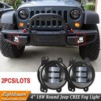 Pair Of 12V 4 4inch Round LED Fog Light For 07 15 Wrangler JK High Power