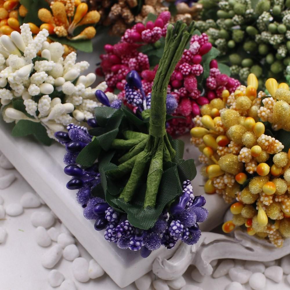 16 12pcs Berry Artificial Stamen Handmade Flower For Wedding Home Decoration Pistil DIY Scrapbooking Garland Craft Fake Flower 4