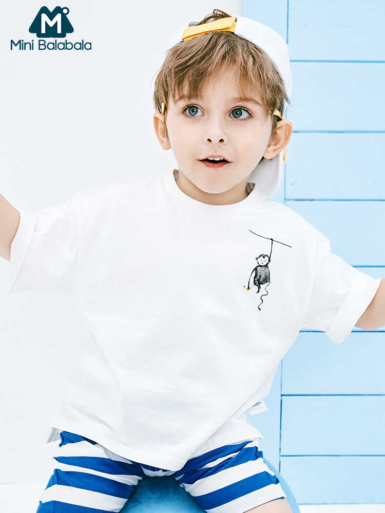 Mini balabala baby boys short sleeve cotton Tshirt 2019 summer new children striped round neck tshirt