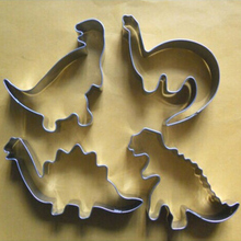 4 шт./лот, милый динозавр, печенье, формочки для печенья, формы для украшения кондитерских изделий, инструменты для выпечки из нержавеющей стали