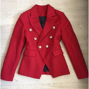 Image 3 - Chaqueta de lana de Tweed con botones de León para mujer, chaqueta clásica de diseñador para otoño e invierno, 2020
