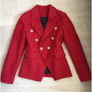 Image 3 - HIGH QUALITY Newest Fashion 2020 Fall Winter Designer Blazer Jacket Womens Classic Lion Buttons Tweed Wool Blazer Coat