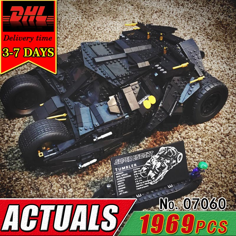 DHL LEPIN 07060 The Batman Armored Chariot Building Blocks Set Super Hero Compatible Bricks Educational Toys Children Kid Gift lepin 07060 super series heroes movie the batman armored chariot set diy model batmobile building blocks bricks children toys