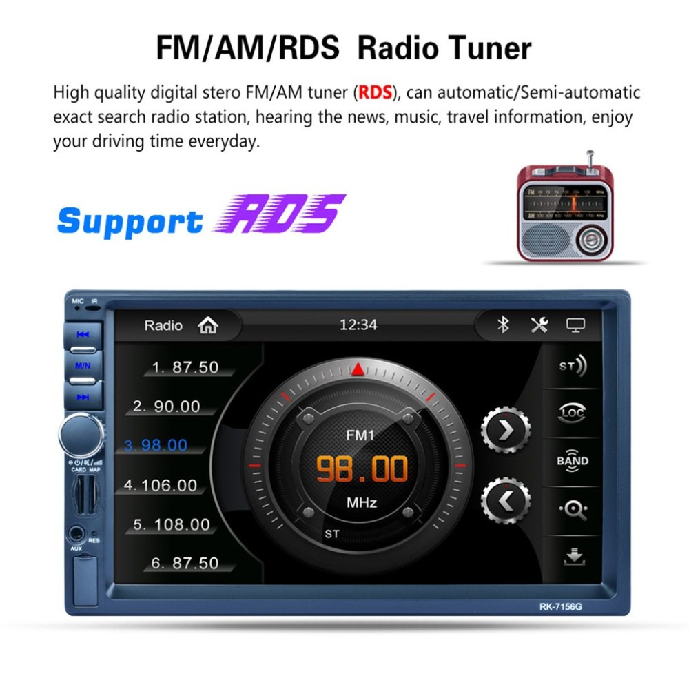 RK-7156G 2Din 7inch Car MP5 Bluetooth FM/RDS Car Radio HD Touch Screen GPS Navigation Car Multimedia Player Support USB TF 5 resistive screen wince 6 0 gps navigator w fm transmitter tf 4gb brazil map black red