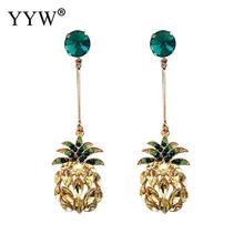 The new Korean version of alloy pineapple fruit ladys ear nails, European and American exaggerated long temperament studs