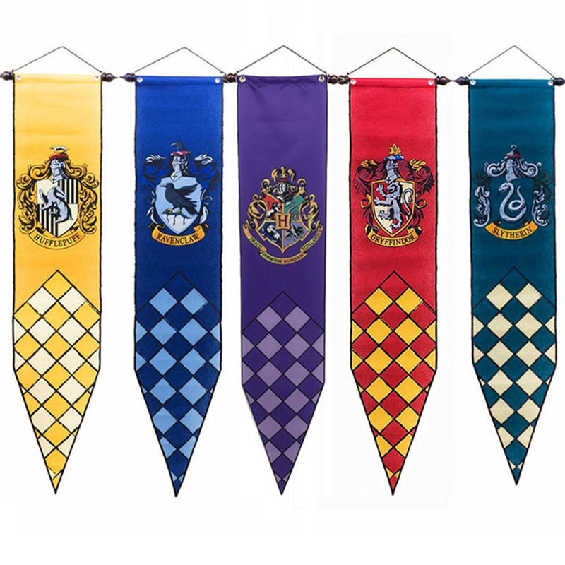 NEW Harri Potter Banners Gryffindor Slytherin Hufflerpuff Ravenclaw College Flag Party Supplies Cosplay Toys Gift Action Figures cotton hogwarts harri cosplay potter toys college gryffindor slytherin baseball hat summer cap hip hop magic hats toys for child