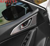 BJMYCYY 4PCS/SET Automobile door handle, stainless steel decorative sequins, decorative frame for Mazda 3 Axela 2014 2017