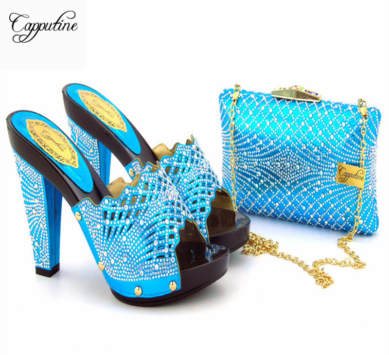 Capputine Luxury Fashion Woman Pumps Shoes And Bag Set New Summer African Style High Heels Shoes And Bag Set For Party Usage