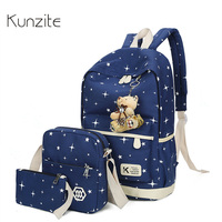 Kunzite Brand 3Pcs Sets Korean Canvas Printing Backpacks Book Bags Preppy Style School Bags For Teenage