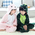 2016 New Halloween party cosplay costume for girls boys Furry flannel pyjama pajamas Kids Pink/Green dinosaur onesies Christmas