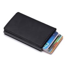 Wholesale New Metal Blocking Credit Card Holder With RFID Cowhide Leather Id Holders Vintage Solid Mini Wallet