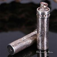 T9105 Nepal 925 Silver Handmade Pendant Tibetan Lucky Eight Auspicious Symbols Prayer box GAU Amulet Free Shipping