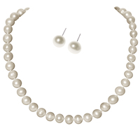 YACQ Freshwater Cultured Pearl 8.5 9mm 925 Sterling Silver Choker Necklace Stud Earrings White Jewelry Set Gifts for Women Mom