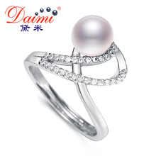 DAIMI Trendy Shiny Ring 7-8mm White Natural Freshwater Pearl Ring 925 Sterling Silver Ring Gift For Women Brand Fine Jewelry