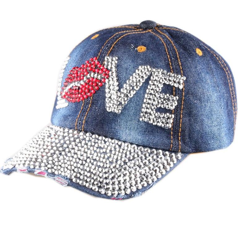 Prix pour CRUOXIBB Mode Femmes Snapback Casquettes mignon cristal handmake amour lettre Lèvres Coton chapeau Casquette de baseball