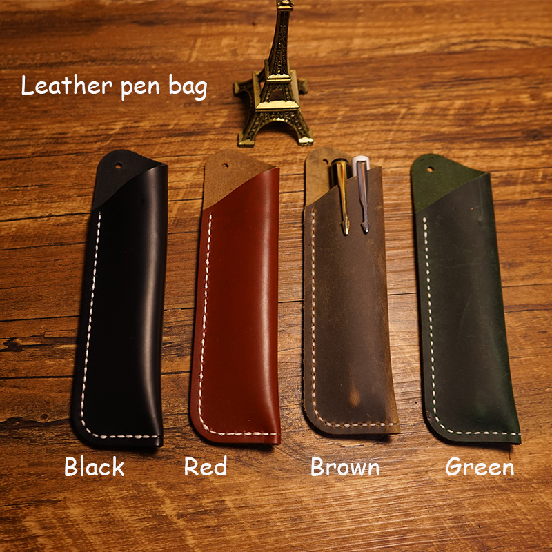 Handmade notebook penbag genuine leather cover penbag 4 colors pencil case green pen bag can capatency 2 pens school supplies