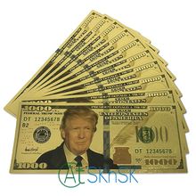 10PCS/Lot American President Donald Trump Gold Foil Plated Banknotes 100 1000 USD Money Souvenir for Gift Collection