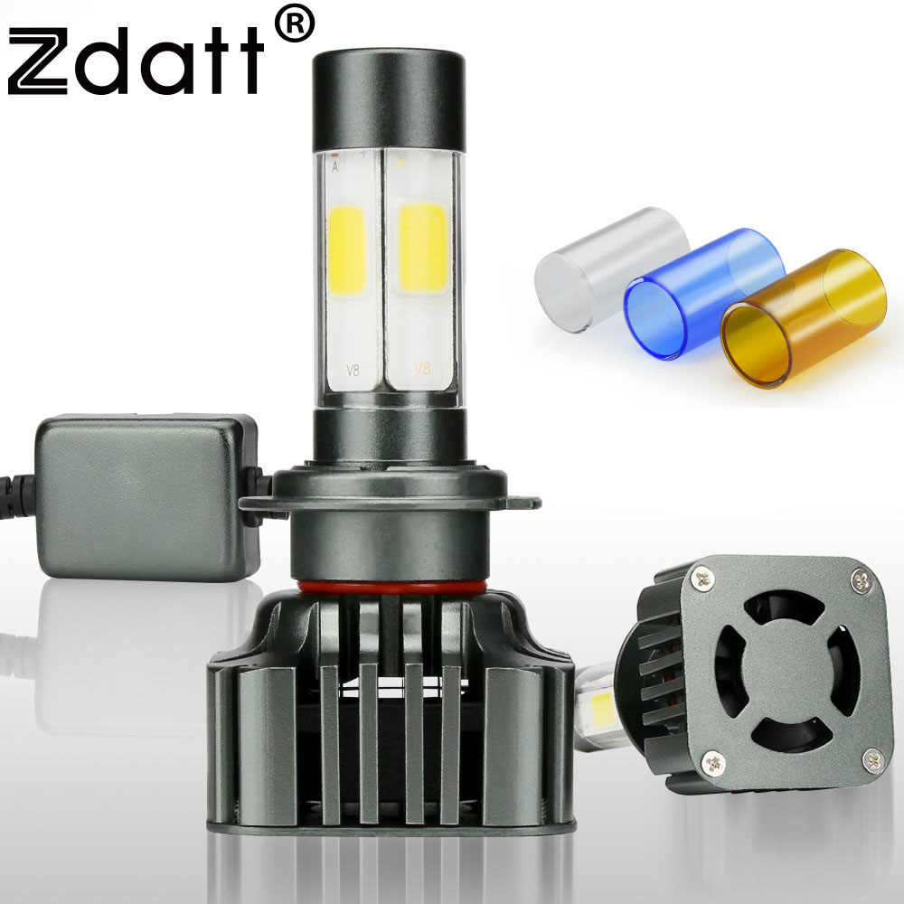 Zdatt Super Bright COB H7 Led Bulb Lamp Headlights Car Led Light 100W 12000LM Canbus 3000K 6000K 8000K 12V Automobiles 4 Sides