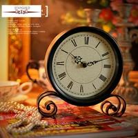 Hot Zakka Vintage Black Metal Art Table Clock Watch Desktop Clock Vintage 18.5*15*4cm Free Shipping