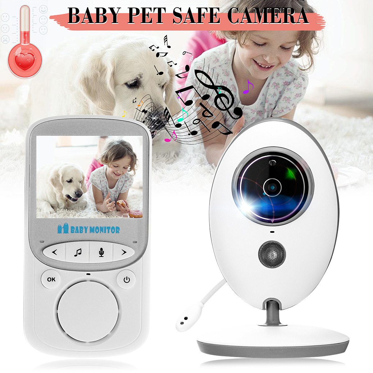 2.4GHz Wireless Baby Monitor LCD Audio Talk Night Vision Digital Video Temperature Baby Healthy Pet Safe Camera Security US cata cdp 780 wh