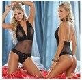 Nueva Europa y América Sexy Conjunto de Ropa Interior de Encaje Negro Sexo Caliente Modal de Las Mujeres ropa de Dormir Conjunto Sexy Bodys Camisones Envío Gratuito