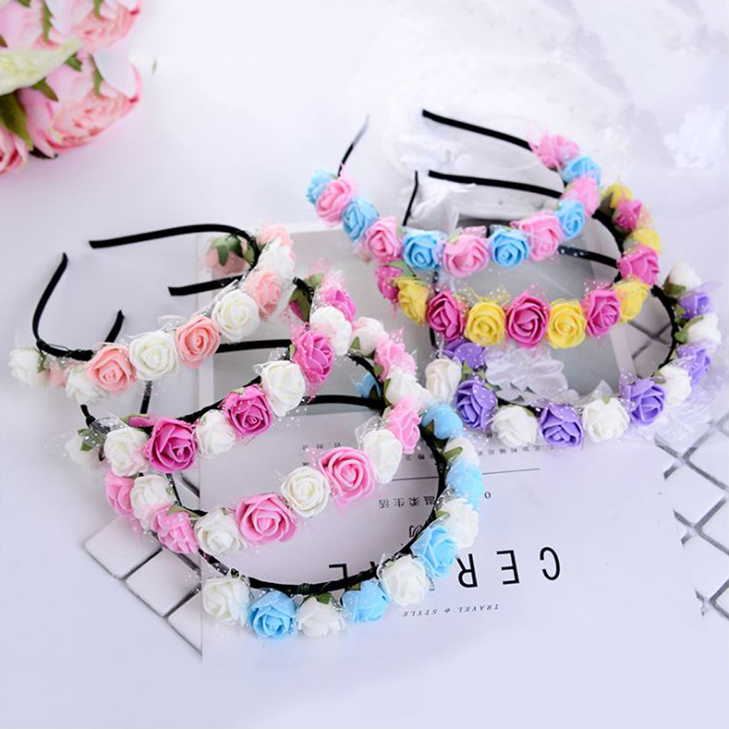 Bezel for Girls Hair Accessories Flower Headband Yarn Form Wreath Headdress Romantic Hairband Red Color Bridal   Headwear