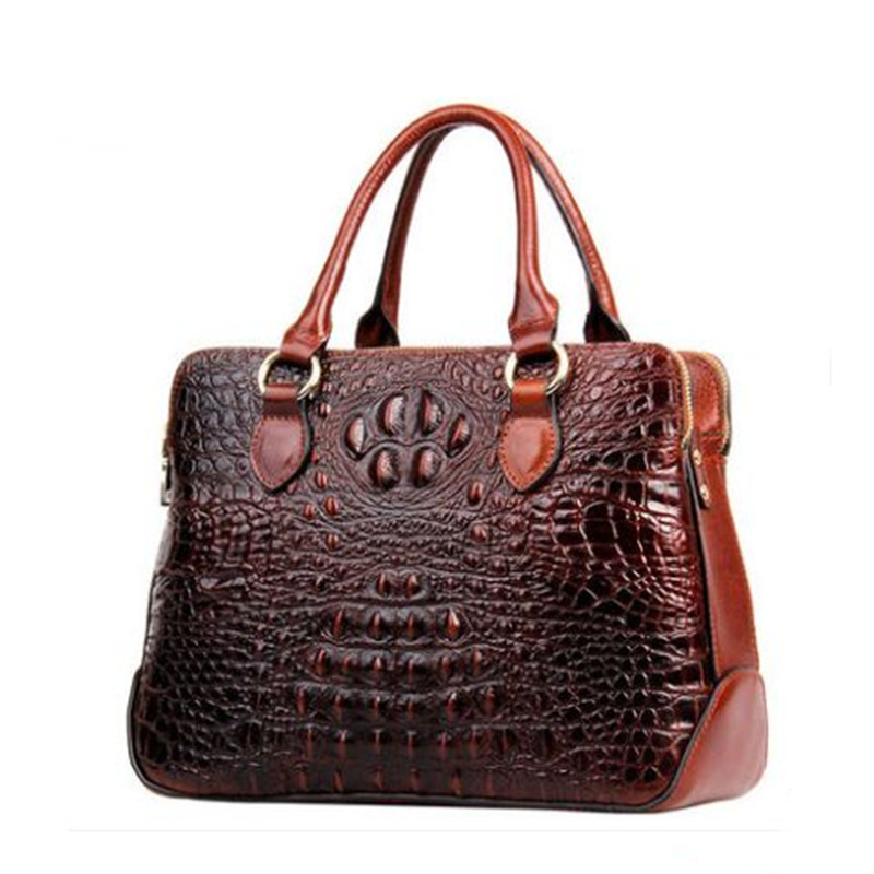 Genuine Leather Women Bag\Handbag Fashion Crocodile Pattern Tote Cowhide ladies' Casual Shoulder Bag Messenger Bag Big Bag~17B22 2017 esufeir brand genuine leather women handbag fashion shoulder bag solid cowhide composite bag large capacity casual tote bag