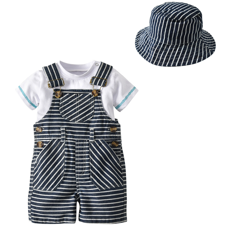 Carters Gentleman Boy Clothing Set Baby Outfit T Shirts Cotton Birthday Shirt Boys Overalls Stripe Romper 3Pcs 2Y