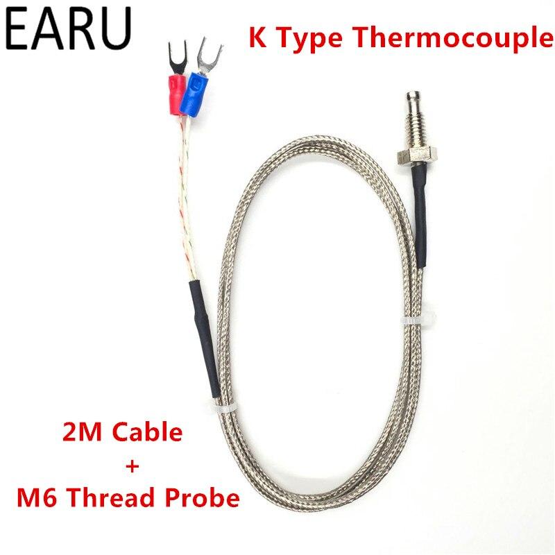 1 шт. Нитки M6 Винт зонда Термометры термопары K Тип диапазон 0-400 градусов 2 м длинный кабель для pid контроллер термометр