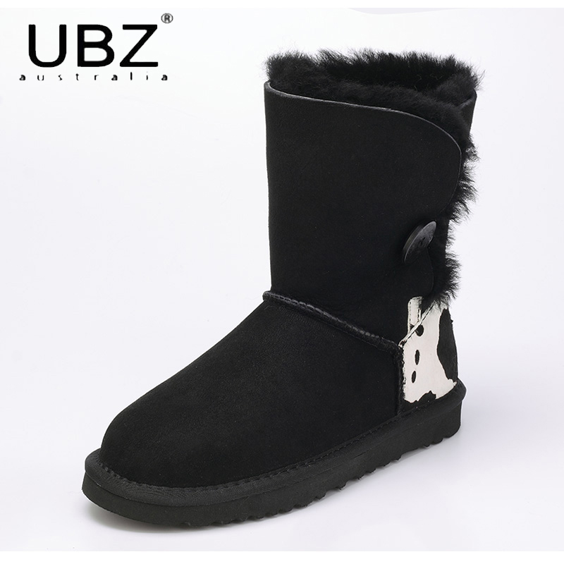 UBZ Women Snow Boots Australia Sheepskin Wool Snow Boots Female Winter Flat Shoes Bottomed Buckle Warm Boots Botas Mujer