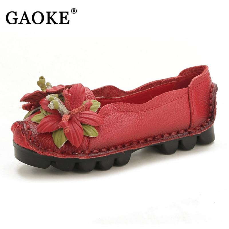 Национальный Ветер цветы дамские туфли на плоской подошве ручной работы Пояса из натуральной кожи Обувь Для женщин ретро мягкая подошва без каблука Обувь осень обувь на плоской подошве
