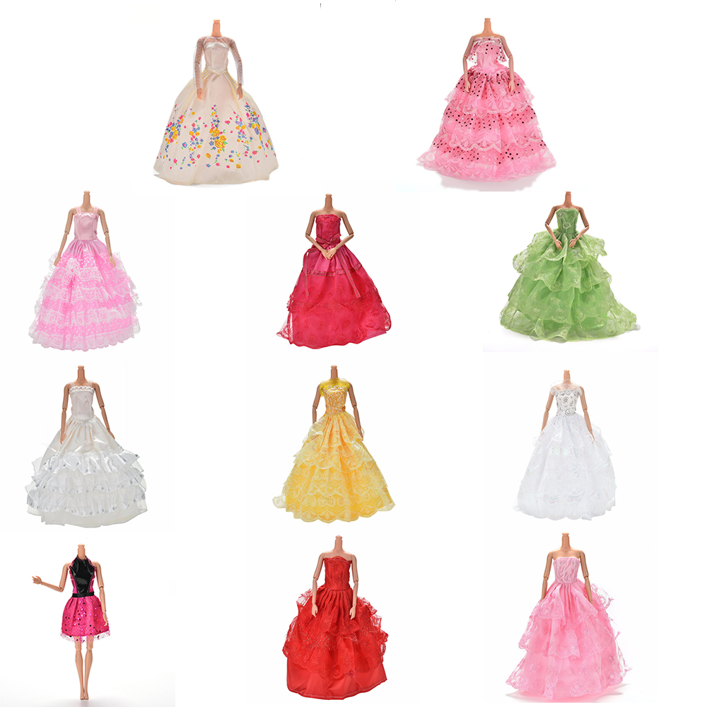 Many Charming Summer Party Wedding Dress For Barbie Handmade Multi Layers Doll Princess Dresses Gown Dollhouse Costume Clothing