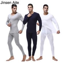 Jinsen Aite Plus Size 2XL 7XL Winter Mens Warm Thermal Underwear 2018 New O Neck Modal