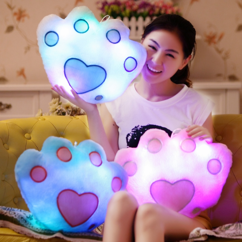 High Quality Color Change Luminous Bear's Paw Pillow Soft Plush Pillow Led Light Pillow Night Light Kids Cushion Toy Girls Gifts bear silicon color change rechargeable led night light