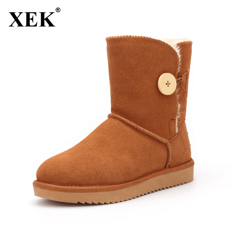 XEK 2016 Women Snow Boots Australia Classic Fashion High Quality Genuine Suede Leather Warm Winter shoes woman 5803 new brand women winter 2 bows shoes australia classic snow boots warm women wool shoes high genuine cow leather boots pink