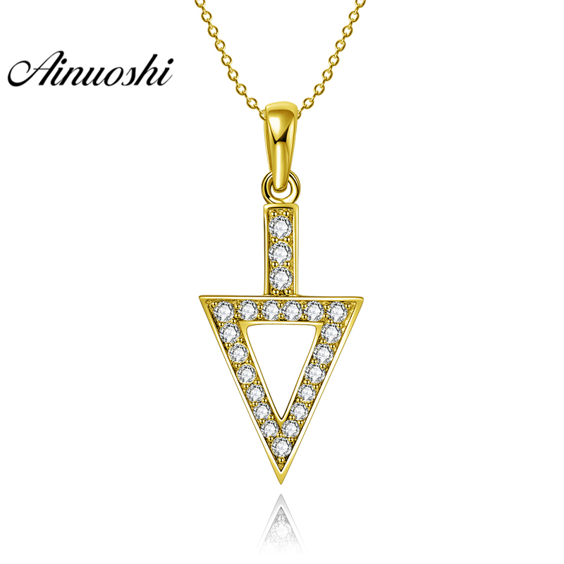 AINUOSHI 10K Solid Yellow Gold Pendant Arrow Pendant SONA Diamond Women Men Jewelry Hollow Triangle Arrow 1.6g Separate Pendant chic solid color arrow triangle hairpin for women