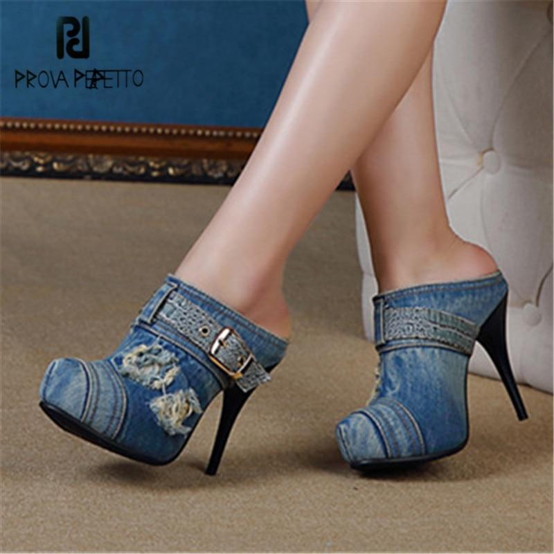 58e114d5b Salto Preto De Plataforma Stiletto azul Prova Feamle Sandálias Casual Mulheres  Alto Slides Verão Sexy Bombas ...