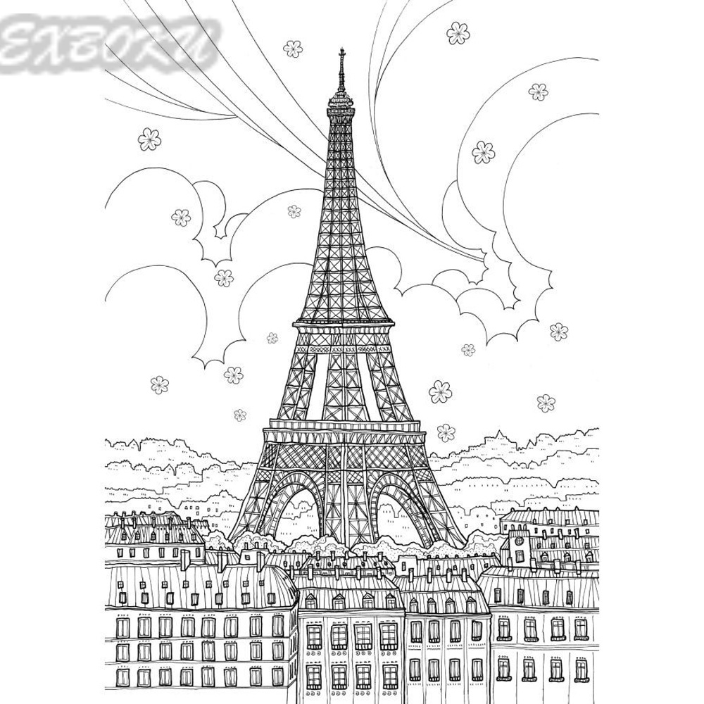 72 Pages London Travel Coloring Book For Children Adult Relieve ...