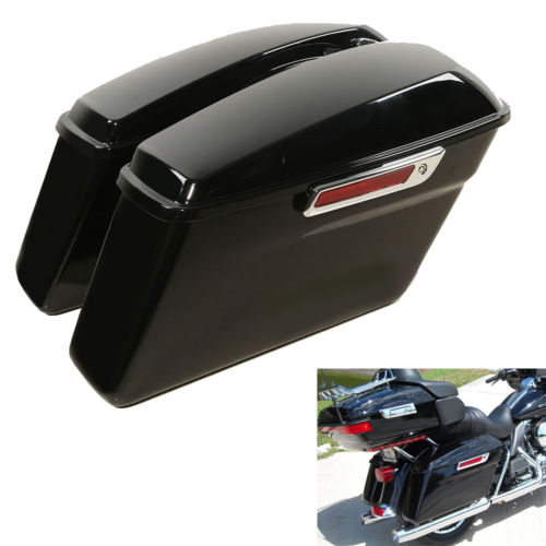Vivid Rígidos Alforjes da motocicleta Tronco W/Trava as teclas Para Os Modelos Touring Harley Road King 2014-2018 Rua glide FLT FLHT