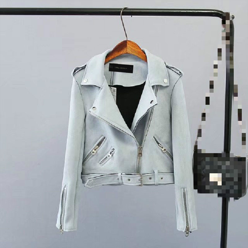 2019 Lika Rulla Top Brand S-XL New Spring Fashion Bright Colors Ladies Suede   Jacket     Basic   Street Women Short PU Leather   Jacket
