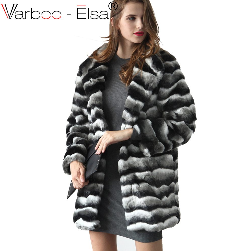 dab245434c VARBOO_ELSA Women Winter Black white stripe Fur Coat Long Sleeve Faux Fur  Outerwear Lady furry coats long Fur Jacket Plus Size
