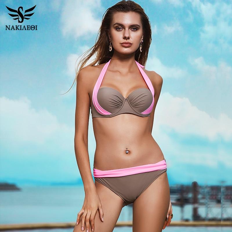 NAKIAEOI 2019 New Sexy Bikinis Women Swimsuit High Waisted Bathing Suits Swim Halter Push Up Bikini NAKIAEOI 2019 New Sexy Bikinis Women Swimsuit High Waisted Bathing Suits Swim Halter Push Up Bikini Set Plus Size Swimwear 4XL